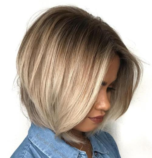 Blonde Bob With Stretched Roots