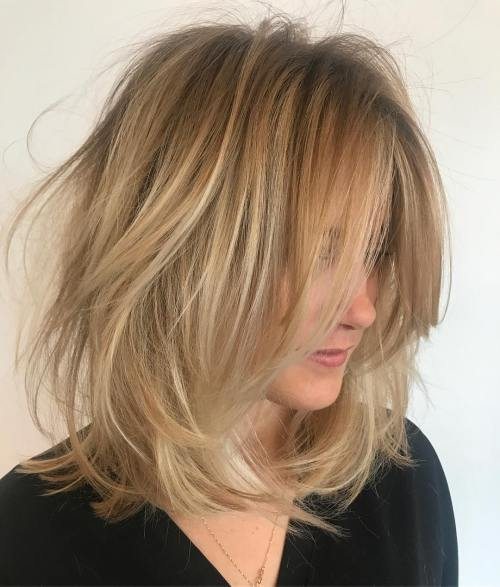 Messy Blonde Long Bob