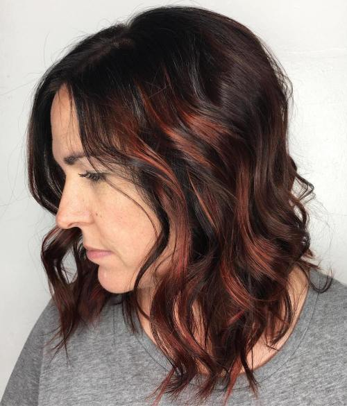 40 fun and flattering medium hairstyles for women of all ages 25 wavy medium hair with highlights dark brown bob with copper highlights pmusecretfo Images