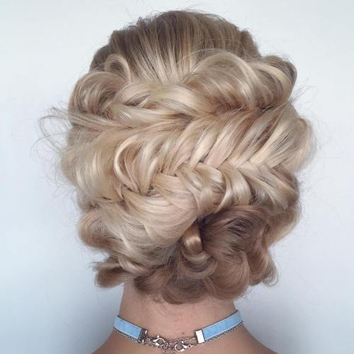 Messy Fishtail Braid Updo
