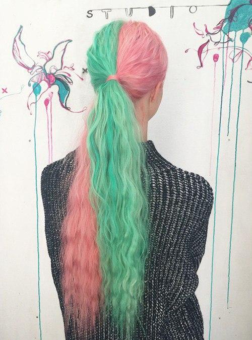Half Teal Half Pink Pastel Hair