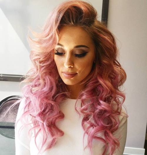 Pastel Pink Curly Hair