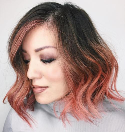 40 fun and flattering medium hairstyles for women of all ages brunette and rose gold balayage bob urmus Images