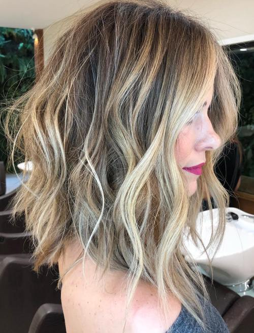 Tousled Wavy Lob With Balayage Highlights
