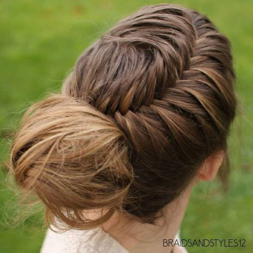 Fishtail With A Messy Bun