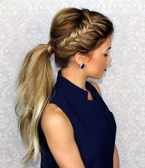 Side Fishtail And Low Ponytail