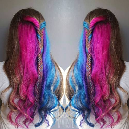 Brown Hair With Pink And Teal Sections