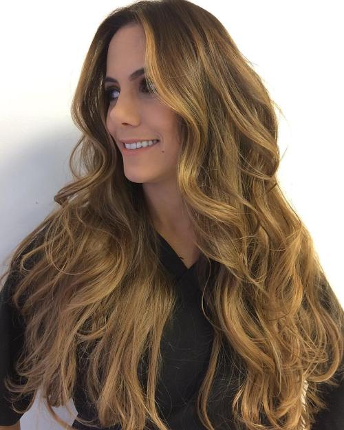 Long Honey Brown Hairstyle