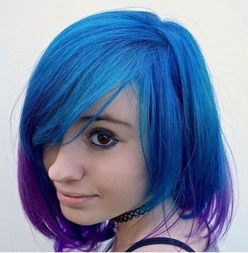 Blue Bob With Purple Dip Dye