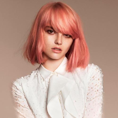 Pastel Pink Bob With Bangs