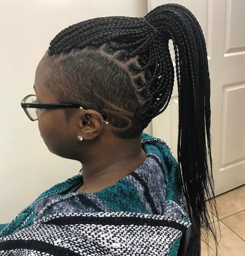 Microbraids Ponytail With Side Undershave