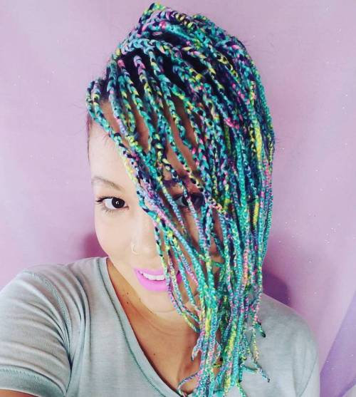 Short Teal Yarn Braids