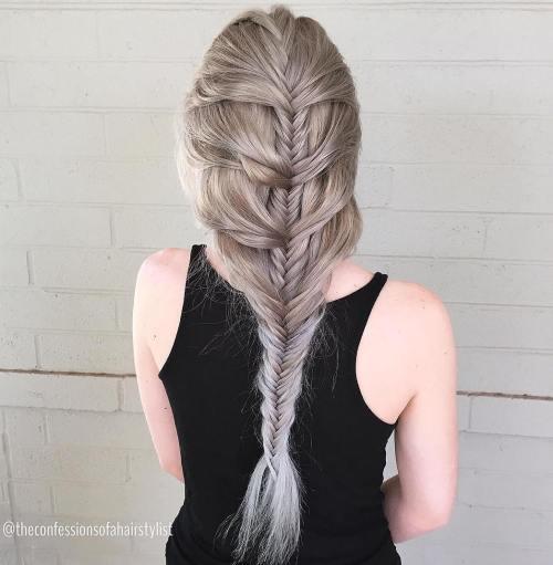 Ash Blonde Mermaid Fishtail Braid