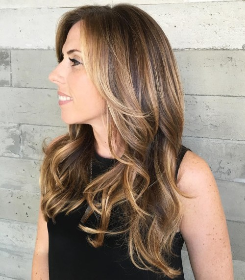 Two tone hair color brown and caramel