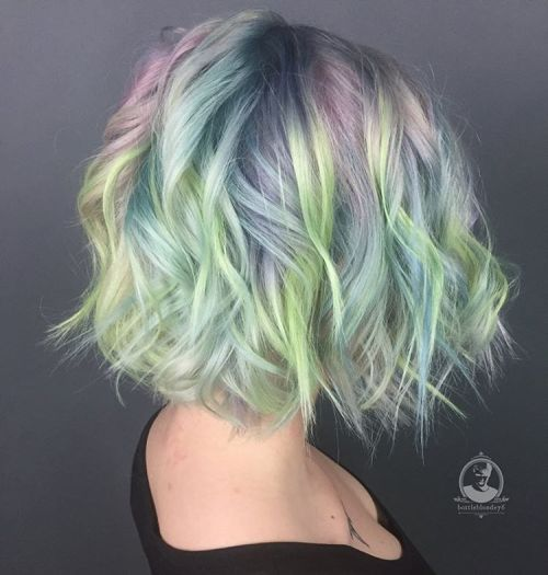 Pastel Colored Messy Bob