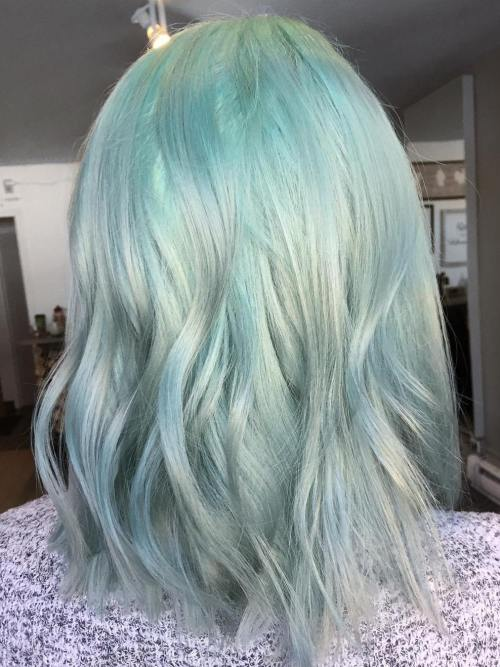 Mint To Silver Ombre Lob