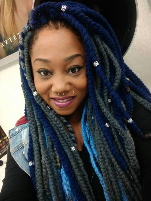 Blue Yarn Braids