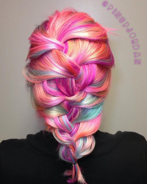 Pastel Hair In A Mermaid Braid