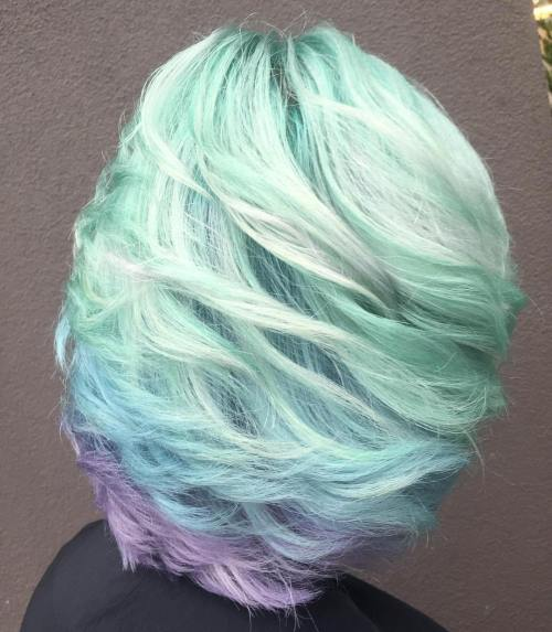 Short Mint Green And Lavender Hair