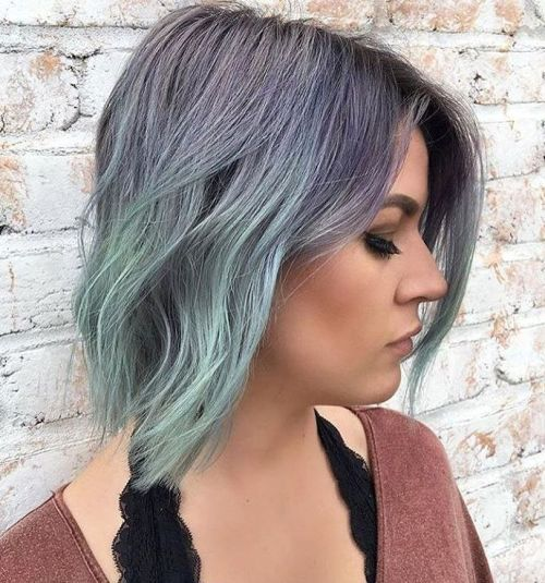 Purple To Mint Ombre Bob