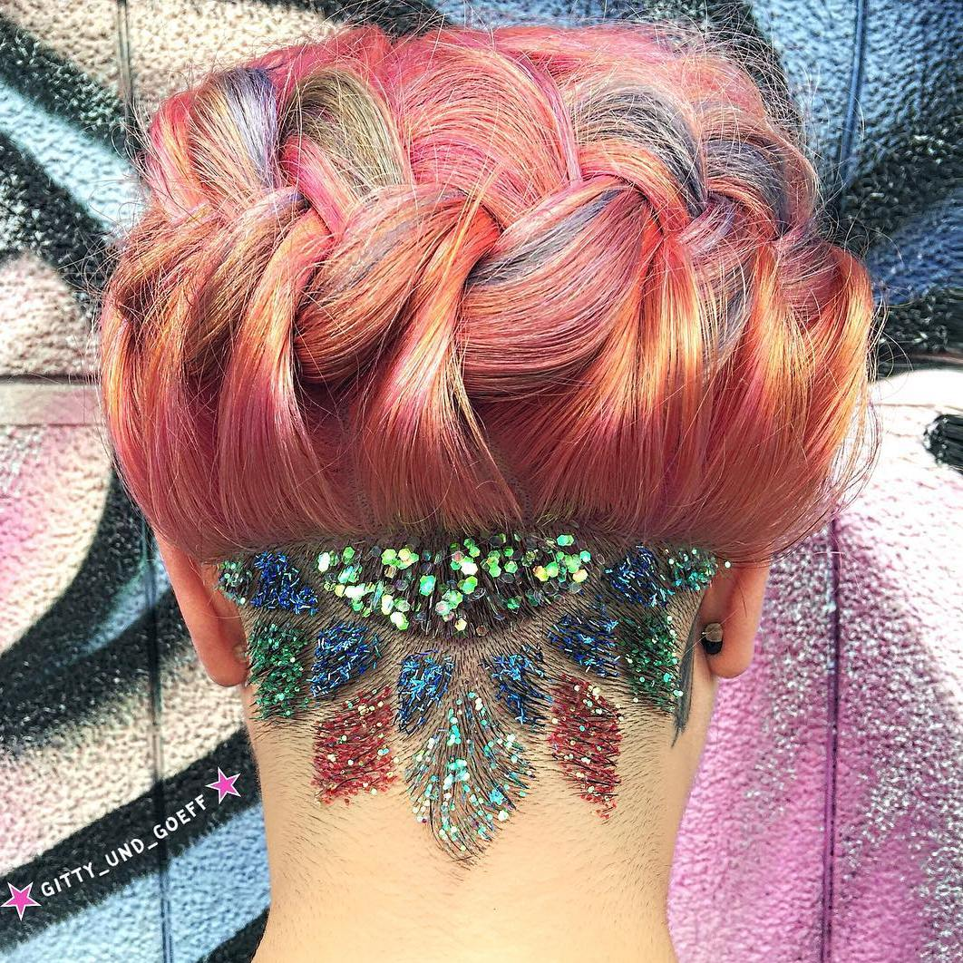 Nape Shaved Design With Sequins