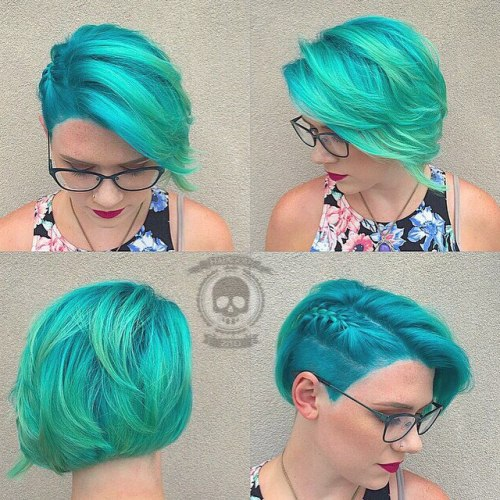 Short Bright Teal Hairstyle