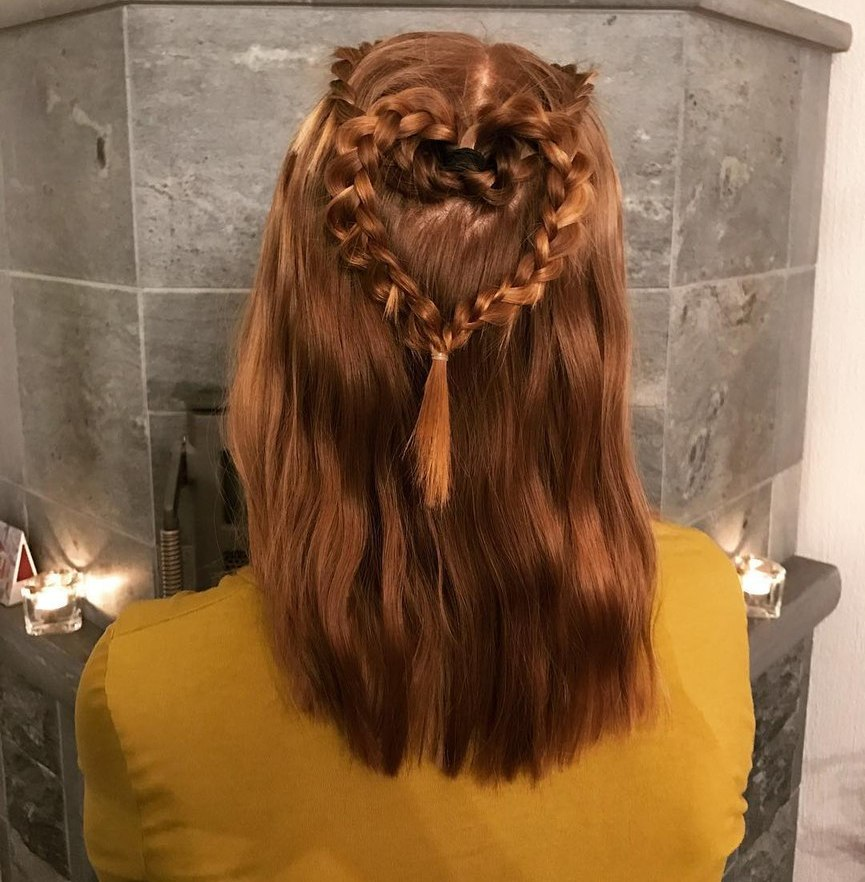 Braided Heart Half Updo