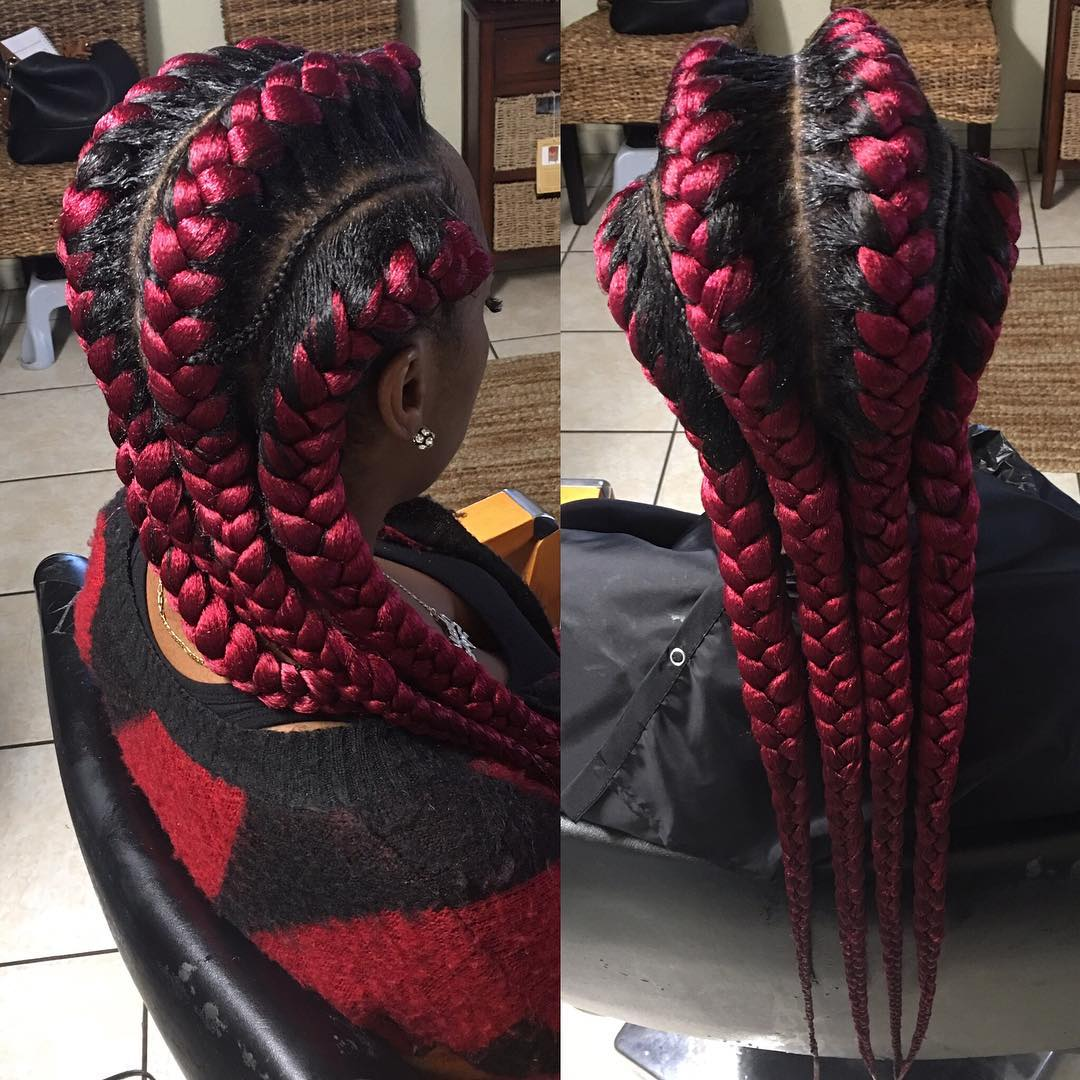 Four Big Burgundy Under Braids