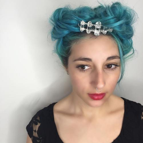 Messy Pastel Blue Updo