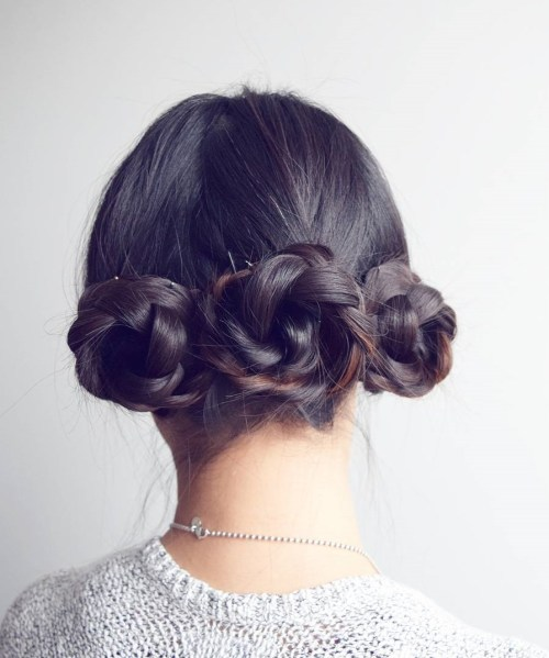 Triple Braided Bun Updo