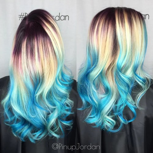 Blonde Hair With Blue Balayage