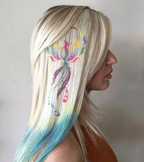 Platinum Blonde Hair With Hair Tat