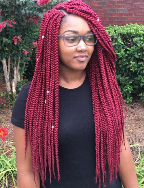 Long Marsala Crochet Braids