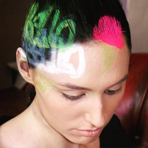 Pink And Green Hair Tat For Dark Brown Hair