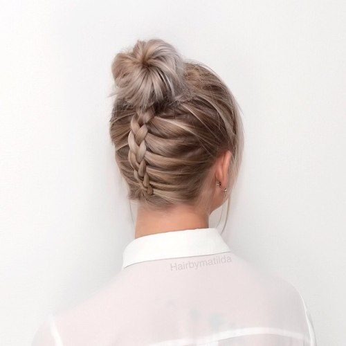 High Bun With A Back Braid