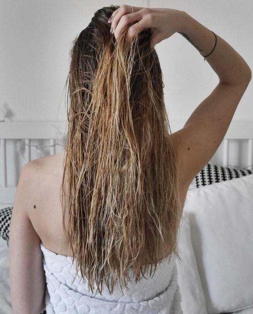 damp hair