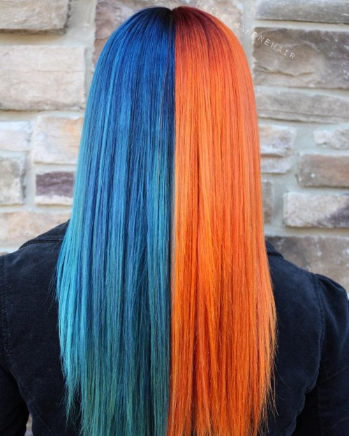 half blue half copper hair color idea