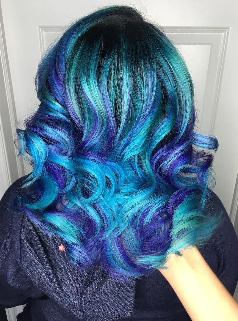 Buy Hair blue with purple highlights picture trends