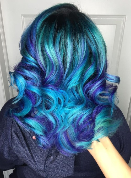 30 icy light blue hair color ideas for girls teal hair with purple highlights pmusecretfo Images