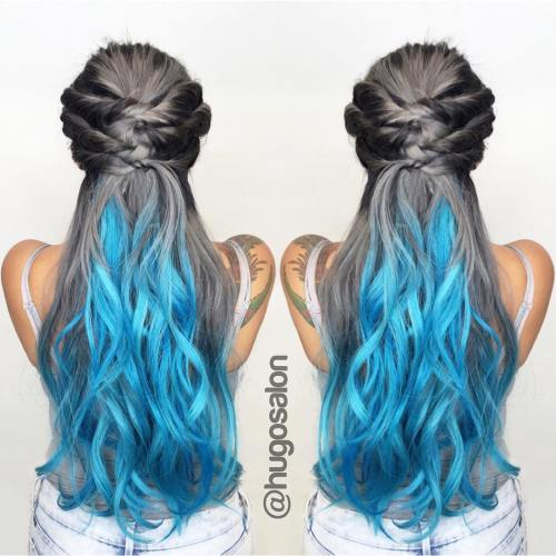 Gray And Turquoise Hair