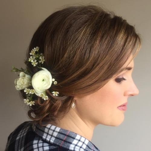 Low Bridal Updo For Shorter Hair