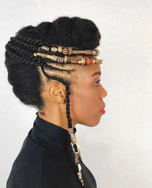 Black Natural Mohawk Updo