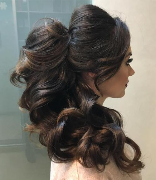 Long Thick Curly Ponytail With Bouffant