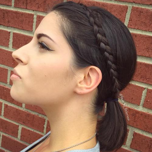 Ponytail With A Headband Braid For Short Hair