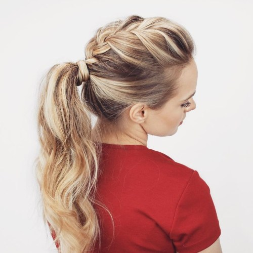 Mohawk Braid And Ponytail Hairstyle