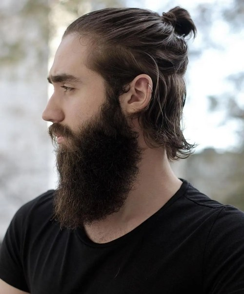 medium semi bun and long beard