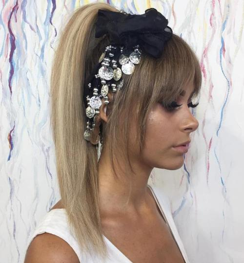 Ponytail With Bangs For Layered Hair