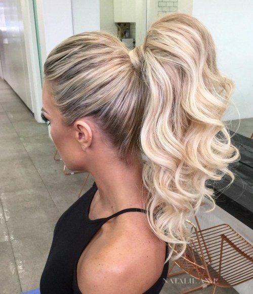 Curly Blonde Ponytail With Hair Wrap