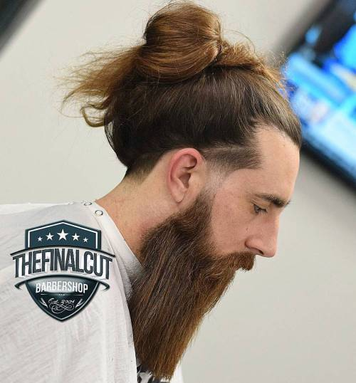 Long Hair Man Bun With Beard And Line Up