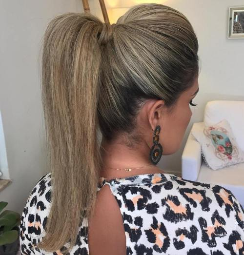 Ponytail With A Bouffant For Straight Hair